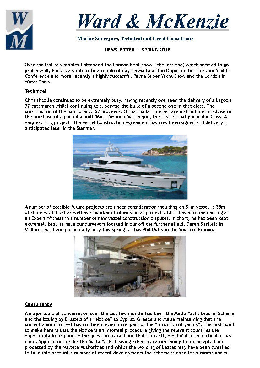 News Ward Mckenzie Yacht Consultants Limited